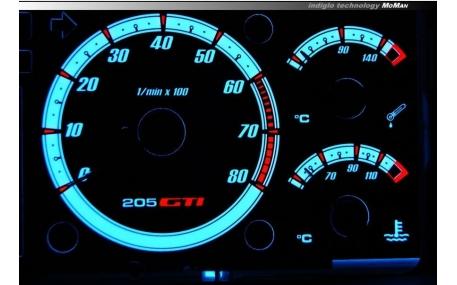 Шкалы приборов Peugeot 205